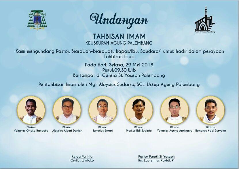 6 Calon Imam Diosesan Akan  Ditahbiskan Di Palembang